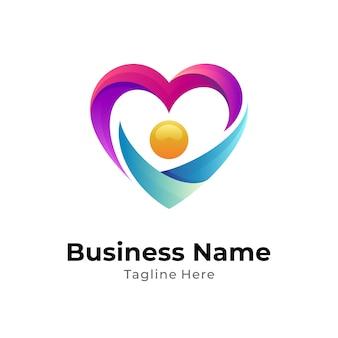Шаблон логотипа люди любят и заботятся