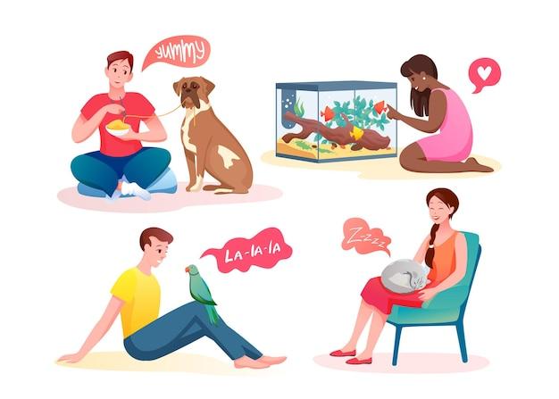 사람들은 애완 동물 먹이주기를 사랑하고 소통합니다.