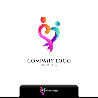 People love and care logo vector template