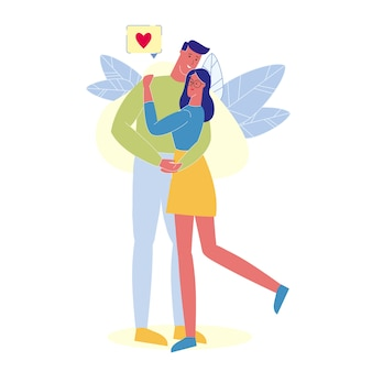 People in love hugging flat vector illustration