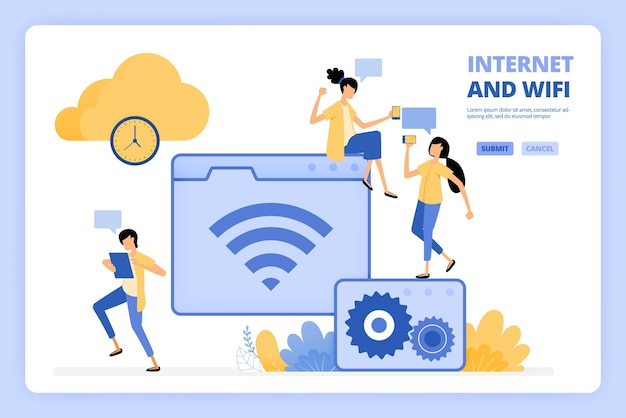 People love to use internet and wifi illustration