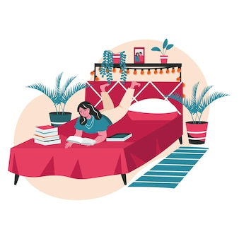 People lovers of literature with books scene concept. woman reading lot of books while lying on bed. learning, hobbies and leisure people activities. vector illustration of characters in flat design