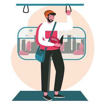 本のシーンのコンセプトを持つ文学の人々の愛好家。男性の乗客は地下鉄に立っている本を読みます。学習、趣味、レジャーの人々の活動。フラットなデザインの文字のベクトル図