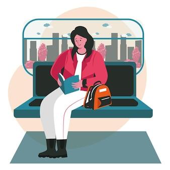 本のシーンのコンセプトを持つ文学の人々の愛好家。女性の乗客は地下鉄に乗って本を読みます。学習、趣味、レジャーの人々の活動。フラットなデザインの文字のベクトル図