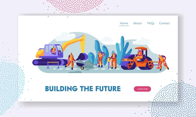 People and machinery at road repairing work concept. website landing page template