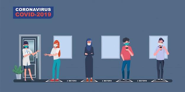 人々は社会的距離を維持します。感染した病気の人は医者に診察に行き、covid-19を調べます。