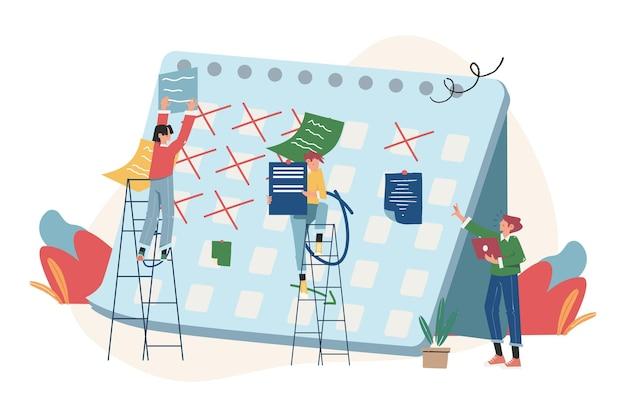사람들은 태블릿에서 온라인 일정을 만들고 일주일에 비즈니스 그래픽 작업 일정을 디자인합니다.