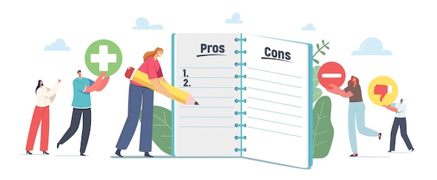 People make important decision. tiny male and female characters at huge notebook sheet writing pros and cons of something in column list, advantages and disadvantages. cartoon vector illustration