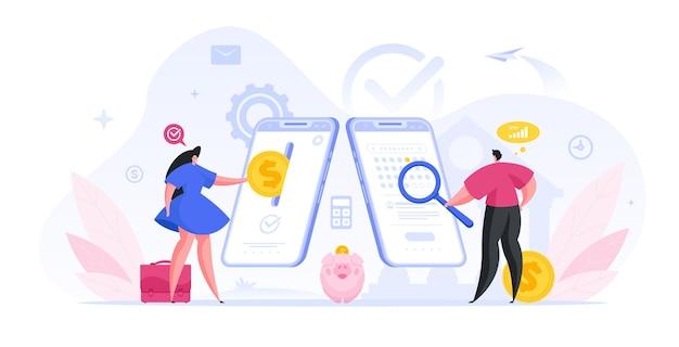 Люди делают денежные вложения и проверяют срок депозита иллюстрации. женщина вкладывает деньги в приложение веб-банкинга. мужчина в онлайн-календаре видит интересующую дату выдачи