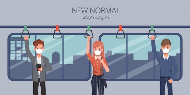 Люди проводят социальные дистанции в небесном поезде во время covid-19. новый нормальный образ жизни в повседневной жизни после вспышки коронавируса.