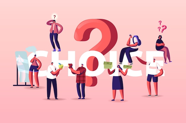 People making choice illustration. doubtful tiny characters thinking under huge question mark