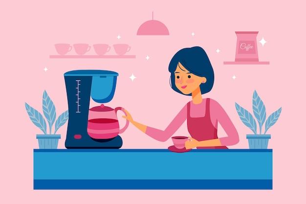 People making coffee illustration