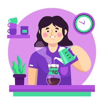 さまざまな方法でコーヒーを作る人々