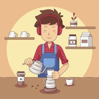 Люди делают кофе