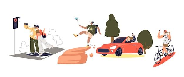 Люди делают опасные селфи, рискуя жизнью. мультипликационный персонаж, делающий селфи на дороге, за рулем или верхом, падая со скалы. плоские векторные иллюстрации