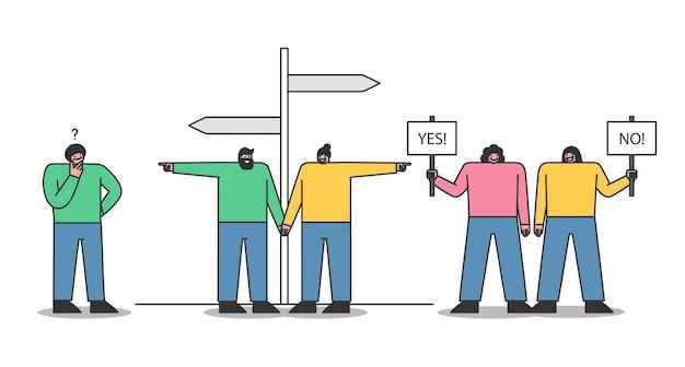 Люди принимают решения: пара выбирает направление у дорожного знака, женщины с плакатами «нет» и «да», думают, что мужчина важнее решения