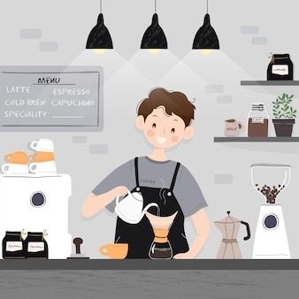 People making different coffee methods