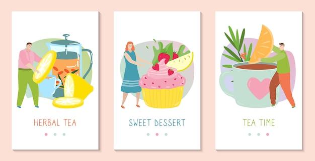 Люди, делающие травяной чай с лимоном и кекс, набор концептуальных баннеров для мобильного приложения, иллюстрация