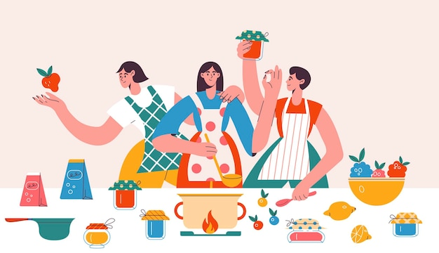 People making homemade jam and jelly banner in flat design