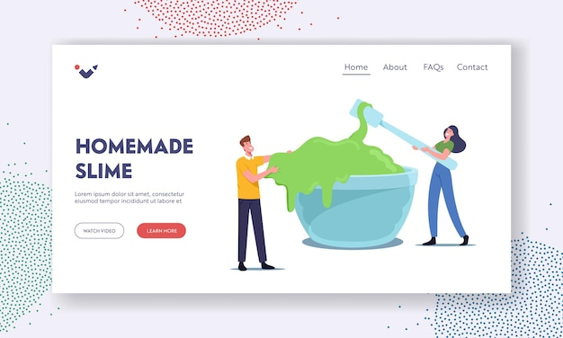 People making homemade slime landing page template. tiny characters mixing green gooey ingredients in huge bowl for create handgum toy, fun hobby recreation concept. cartoon vector illustration