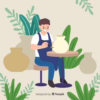 People making pottery flat design