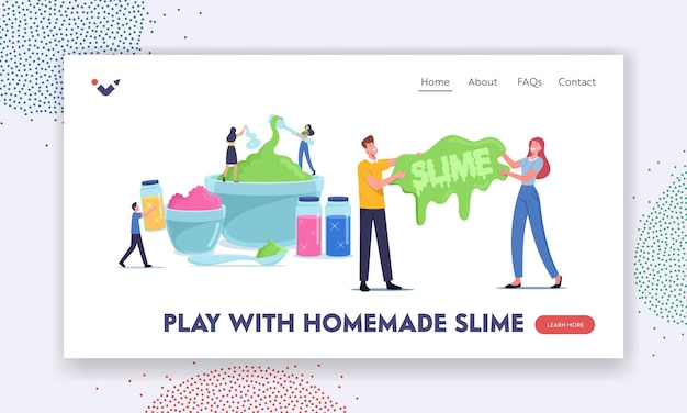 People making slime landing page template. cheerful tiny characters mixing ingredients in huge bowls for creating gooey homemade handgum toy, having fun, hobby, recreation. cartoon vector illustration