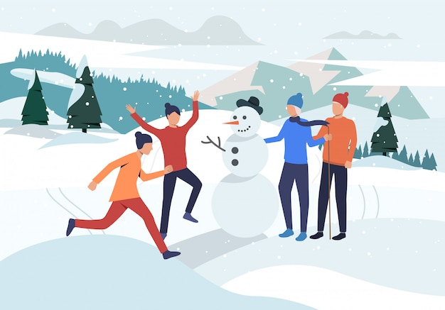 People making snowman landing page