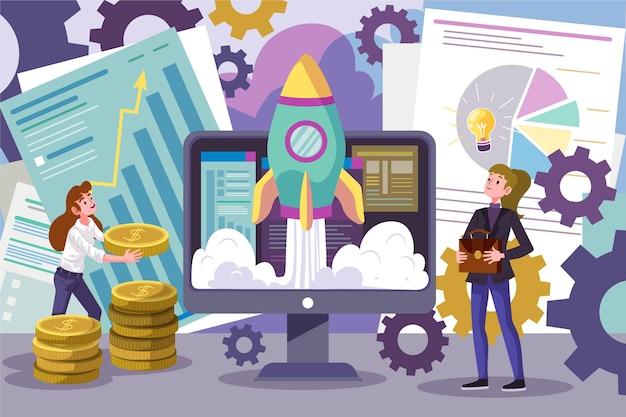 Люди вместе создают стартап