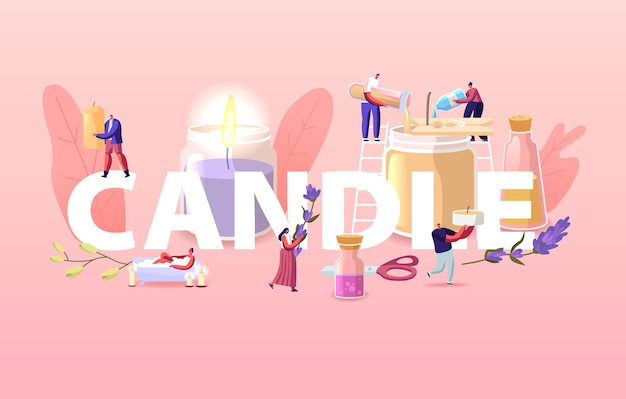 People making and use candles at home illustration