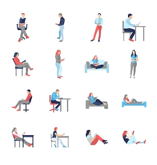 People, male, female, in different casual common reading poses - modern flat design isolated icons set. holding book, reading, thinking, at the desk, on the chair, sofa
