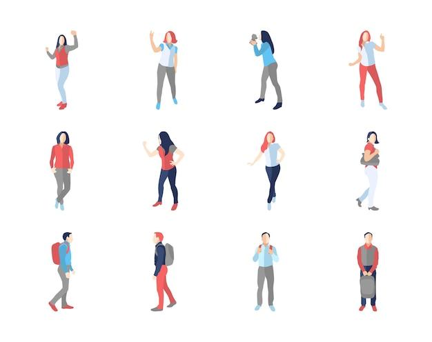 사람, 남성, 여성, 다른 캐주얼 포즈-현대 평면 디자인 격리 아이콘을 설정합니다. 춤추고 걷고, 배낭과 함께