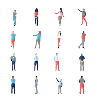 사람, 남성, 여성, 다른 표시 및 브라우징 포즈-현대 평면 디자인 격리 아이콘을 설정합니다.