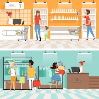 People male and female make purchases in store banner