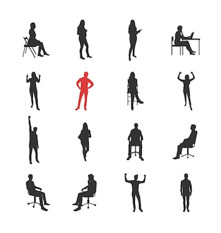 People, male, female silhouettes in different casual common poses - modern flat design isolated icons set. standing, sitting, holding book, delight, success, at the computer