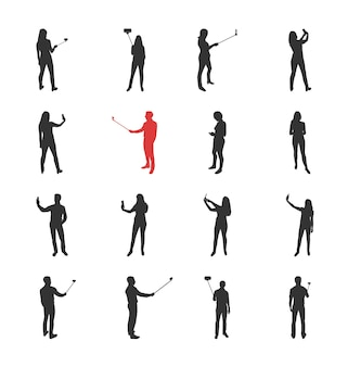 People, male, female silhouettes in different shooting selfie pictures poses - modern flat design isolated icons set. making selfies with and without selfie stick