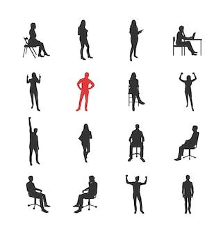 Люди, мужские, женские силуэты в разных повседневных общих позах - набор изолированных иконок современный плоский дизайн. стоя, сидя, держа книгу, восторг, успех, за компьютером