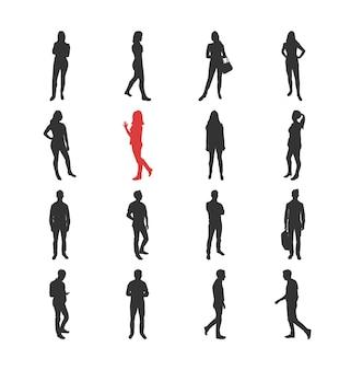 Люди, мужские, женские силуэты в разных повседневных общих позах - набор изолированных иконок современный плоский дизайн. стоя и гуляя, наблюдая за руками смартфона через акимбо с сумкой