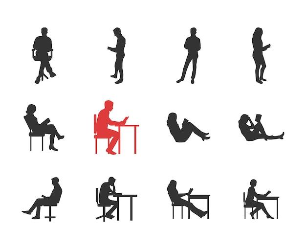 Люди, мужские, женские силуэты в различных повседневных общих позах для чтения - набор изолированных иконок современного плоского дизайна. держит книгу, читает, думает, за столом, на стуле, софе