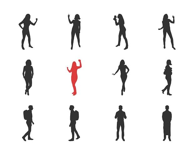 Люди, мужские, женские силуэты в разных позах случайные - набор изолированных иконок современный плоский дизайн. танцы, прогулки, с рюкзаком