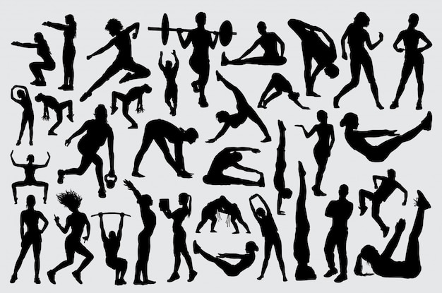 People male and female training fitnes silhouette