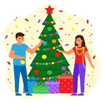 Люди мужчина и женщина украшают зеленую ель шариками и лампочками. молодая пара ждет праздника с подарками. праздник рождества и нового года. векторная иллюстрация плоский