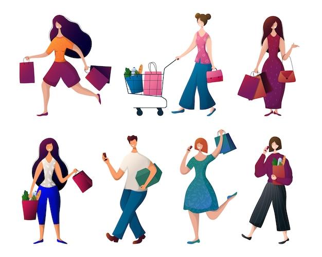 人 - 買い物袋を持つ男女。