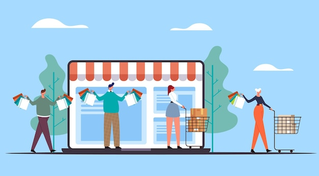 Люди, мужчина и женщина, делают покупки и несут сумки. интернет-магазин веб-концепции.