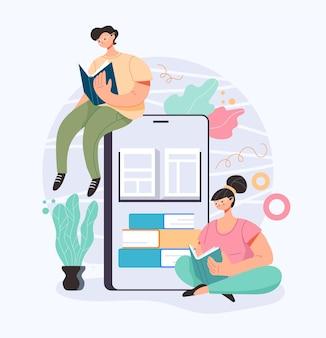 사람들이 남자 여자 문자 학생 독서 책 스마트 폰 인터넷 온라인 교육 개념, 만화 평면 그림