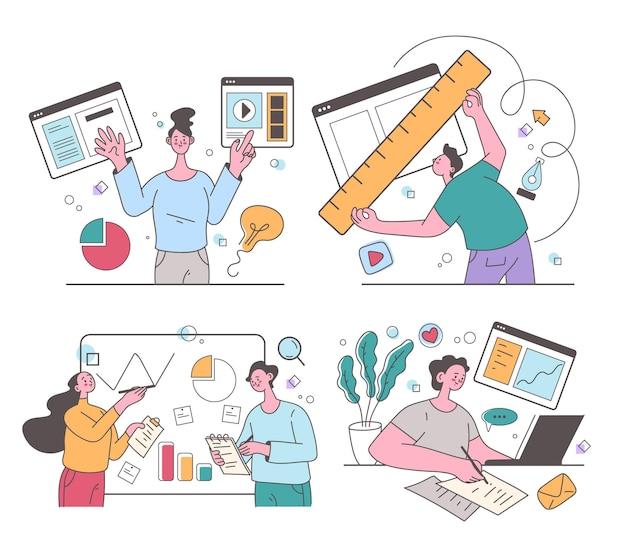 Люди, мужчины, женщины, персонажи, использующие интернет-сайт онлайн и бизнес-план развития