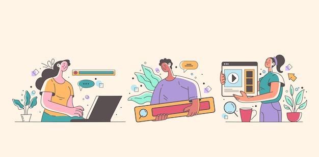 노트북 컴퓨터 전화 인터넷 격리 설정을 사용하는 사람들이 남자 여자 문자
