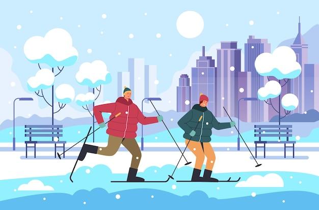 Люди мужчина женщина пара персонажей катание на лыжах зимний парк, иллюстрации шаржа