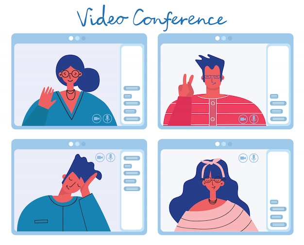 People man and woman or girl make a video call, chat or conference. colorful illustration in modern flat style.