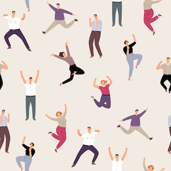People man and woman happy jumping seamless pattern