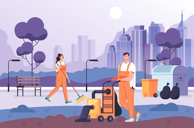사람들이 남자 여자 노동자 공원 청소. 깨끗한 서비스 개념 플랫
